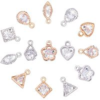 PandaHall Elite 70 pcs 2 Colors 8 Shapes Cubic Zirconia Alloy Heart/Flower/Horse Eye/Star/Triangle Shape Charms Sets for Jewelry Making, Golden/Silver