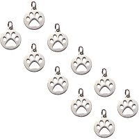 Unicraftale 304 Stainless Steel Pendants, Flat Round with Dog Paw Prints, Stainless Steel Color, 14x12x1.1mm, Hole: 4mm; 20pcs/box