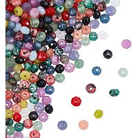 NBEADS Dyed Natural Malaysia Jade Rondelle Beads, Faceted, Mixed Color, 4x2~3mm, Hole: 1mm; 240pcs/box