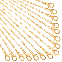 PANDAHALL ELITE Brass Cable Chains Necklace Making, with Lobster Claw Clasps, Golden, 23.6 inches~24.37 inches(60cm~61.9cm)