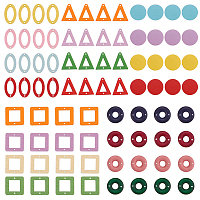 SUNNYCLUE Painted Poplar Wood Links, Square/Oval/Donut/Triangle/Flat Round, Mixed Color, about 80pcs/set