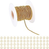 ARRICRAFT Brass Curb Chains, Twisted Chains, Diamond Cut Chains, Soldered, Long-Lasting Plated, Real 18K Gold Plated, with Spool, Golden, Chains: 5m/roll, 1roll/set; Rings: 60pcs/set