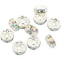 Pandahall Elite 500pcs 8mm AB Color Rhinestone Spacer Beads Silver Plated Brass Rondelle Spacer Beads for Jewelry Making