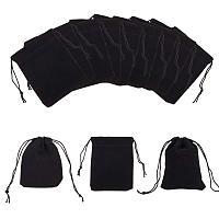 NBEADS 100pcs Velvet Jewelry Bags, Black, 8.5x7cm