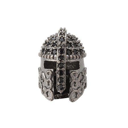 NBEADS 10PCS Brass Micro Pave CZ Roman Warrior Gladiator Gunmetal Helmet Beads Cubic Zirconia Bracelet Spacer Beads for Jewelry Making, 15x11.3m