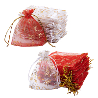 Golden Snowflake Printed Organza Packing Bags, for Festival Christmas Day, Rectangle, Mixed Color, 100pcs/set