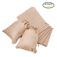 BENECREAT 24Pack Large Size Burlap Bags with Drawstring Gift Bags Jewelry Pouch for Wedding Party and DIY Craft Color Linen, 8.8 x 6.7 Inch