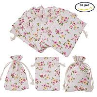 PandaHall Elite 30pcs Colorful Printing Burlap Packing Pouches, Drawstring Bags, 10x14cm