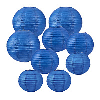 BENECREAT 21 Pack 3 Size Blue Paper Lanterns Round Paper Lamps for Birthday Wedding Party Baby Shower Decorations Crafts, Table and Wall Decoration