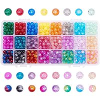 Arricraft 24 Color Crackle Beads, 800pcs 8mm Handcrafted Lampwork Glass Beads Assortment for Bracelet Jewelry Making