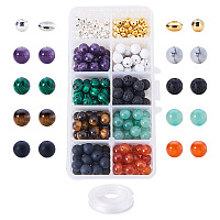 PandaHall Elite 200 Pcs Natural Gemstone Round Loose Beads with 100 Pcs Metal Spacer Beads and 0.8mm Stretchy Beading Elastic Wire 10m per Roll and 1 Pcs Iron Eye Beading Needle