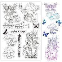 GLOBLELAND Mushroom Elves Clear Stamps Transparent Silicone Stamp for Card Making Decoration and DIY Scrapbooking