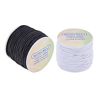 BENECREAT 2 Rolls 109 Yard 2mm Elastic Cord Stretch Thread Beading Cord Fabric Crafting String - White & Black, About 54 Yard per Roll