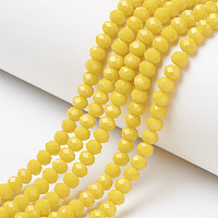 Arricraft Opaque Solid Color Glass Beads Strands, Faceted, Rondelle, Gold, 6x5mm, Hole: 1mm, about 92~94pcs/strand, 17~17.5 inches(42.5~43.75cm)