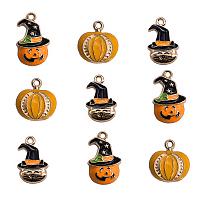 ARRICRAFT Halloween Style Alloy Enamel Pendants,  Mixed Shapes, Mixed Color, 30.5x21x2.5mm, Hole: 1.8mm, 15pcs/set