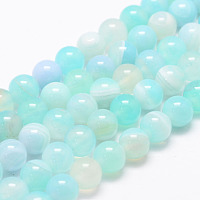 """Arricraft Natural Striped Agate/Banded Agate Bead Strands, Round, Dyed & Heated, Aquamarine, 8mm, Hole: 1mm; about 47~48pcs/strand, 14.5"""""""