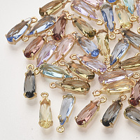 NBEADS Faceted Glass Pendants, with Golden Tone Brass Open Back Settings, Teardrop, Mixed Color, 14.5x4.5x4mm, Hole: 1mm