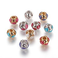 Brass European Beads, Large Hole Beads, with Enamel and Freshwater Shell, Round with Heart, Mixed Color, 11x10mm, Hole: 4.2mm