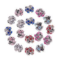 ARRICRAFT 50 Pcs Alloy Rhinestone Flower European Beads with Large Hole Dangle Charms Sets fit Snake Style Charm Bracelets Antique Silver