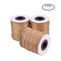 PandaHall Elite (3 Rolls x 320 Feet) Natural Jute Twine 2-Ply Jute String Rope 1mm Hemp Rope Jute Cord for DIY and Crafts, Gift Wrapping