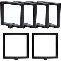 NBEADS 3D Floating Display Case, 6 Sets Black Plastic Suspension Display Frame Holder with Transparent Membrane for Jewelry Ring Challenge Coin Championship Badge, 9.5x9.5cm