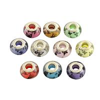NBEADS 100PCS 14MM Pandora Style Large Hole Acrylic Charms Beads Spacers with Butterfly Pattern Fit European Charm Bracelet