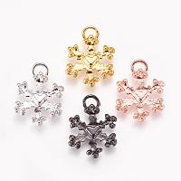 Arricraft Alloy Pendants, Christmas Series, Snowflake, Mixed Color, 16.5~17x12.5x2mm, Hole: 3mm