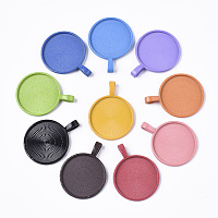 ARRICRAFT Spray Paint Alloy Pendant Cabochon Settings, Cadmium Free & Lead Free, Plain Edge Bezel Cups, Flat Round, Mixed Color, Tray: 25mm, 36x27.5x6mm, Hole: 3x6.5mm, about 2pcs/color, 10color, 20pcs/bag