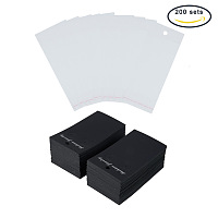 PandaHall Elite 200 Sets Paper Jewelry Earrings Ear Studs Display Cards with OPP Cellophane Self Adhesive Bags Black
