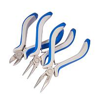 ARRICRAFT 1 Set DIY Jewelry Tool Sets, Plier Sets, Round Nose, Side Cutting Pliers and Wire Cutters, Blue, 110~125x70mm
