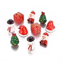 Arricraft Christmas Theme, Resin Pendants, with Platinum Tone Iron Findings, Mixed Color, Hole: 2mm; 10pcs/set