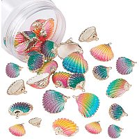 NBEADS 24 Pcs Electroplate Natural Sea Shell Pendants, Spray Paint Shell Beads with Iron Findings for Craft Making Home Decoration Beach Party