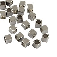 NBEADS 500pcs 304 Stainless Steel Cube Spacer Beads Loose Beads Connector Beads for Jewelry Making