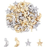 UNICRAFTALE About 80pcs Moon & Star Metal Charm Stainless Steel Charms 1mm Small Hole Golden & Stainless Steel Color Smooth Pendants for DIY Jewelry Making 15-16mm
