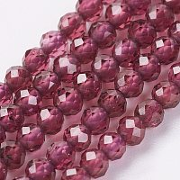 Natural Grade AA Garnet Bead Strand, Round, Faceted, 2mm, Hole: 0.5mm; about 164pcs/strand, 15.8 inches(40.2cm)