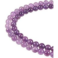 Natural Amethyst Beads Strands, Round, 8mm, Hole: 1mm