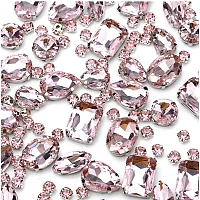 GORGECRAFT Sew on Rhinestone, Multi-strand Links, Glass Rhinestone, with Brass Prong Settings, Garments Accessories, Faceted, Mixed Shapes, Pink, 8~18x5.5~13x4~7.5mm, Hole: 0.8~1mm, 100pcs/box