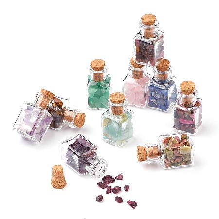 PandaHall Elite 30 Pcs Mini Gemstone Wishing Bottles Tumbled Chip Crystal Healing Gem Reiki Wicca Stones Set for Jewelry Making Home Decoration
