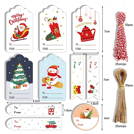 ARRICRAFT Christmas Theme Paper Tags, with Cotton Rope & Hemp Rope, Gift Tags Hang Labels, for Christmas Decorate, Mixed Color, Pape Sizer: 20.5x14cm