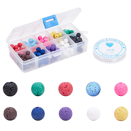 SUNNYCLUE DIY Jewelry Sets, with Elastic Crystal Thread, Natural Lava Beads, Dyed, Round, Mixed Color