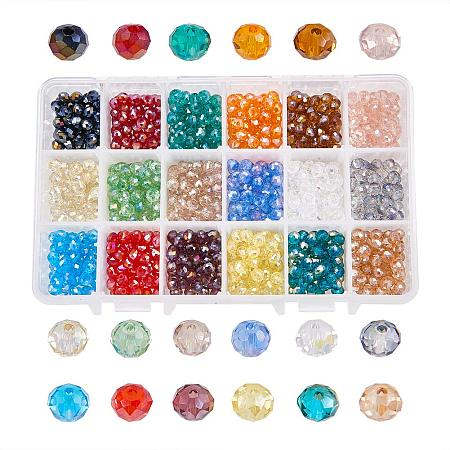 NBEADS 1080PCS 6mm Mixed Color Crystal Abacus Faceted Glass Beads Electroplate Loose Beads Jewelry Making Container Box