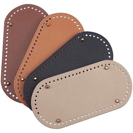 PandaHall Elite 4pcs Crochet Bag Bottom 25x12x1.1cm Oval Bottom Bag Leather Bottoms for Bags Cushion Base with Holes Bag Shoulder Bags DIY Accessories