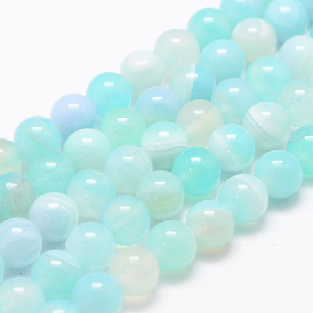 Arricraft Natural Striped Agate/Banded Agate Bead Strands, Round, Dyed & Heated, Aquamarine, 8mm, Hole: 1mm; about 47~48pcs/strand, 14.5