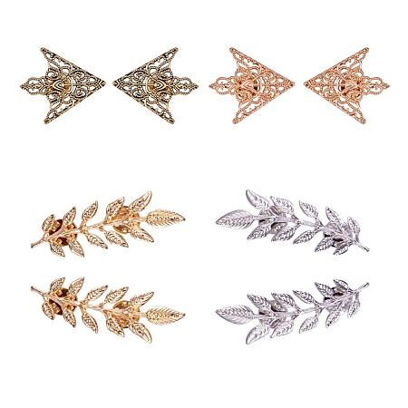 PandaHall Elite 8pcs(4 Pairs) 4 Colors Triangle/Leaf Shape Alloy Brooches Hollow Pattern Shirt Collar Brooch Unisex, Antique Bronze/Golden/Silver/Rose Gold
