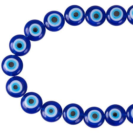 NBEADS 1 Strand (About 38pcs) Blue Flat Round Evil Eye Handmade Glass Lampwork Beads Charms Spacer Beads for Bracelets Necklace Jewelry Making