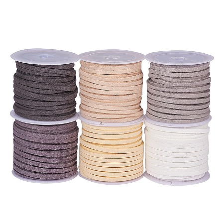 PandaHall Elite Multicolor Faux Leather Necklace Cord Suede Beading Cords Jewelry String, about 5m/roll, 6roll/bag
