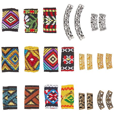 NBEADS 47 Pcs Dreadlock Beads, Including 11 Pcs Mixed Color Cloth Elastic Hair Ties Hair Beads and 36 Pcs 6 Colors Tibetan Style Alloy Tube Beads for African DIY Hair Braiding Ponytail Decoration