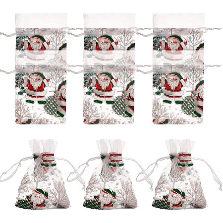 NBEADS 50 Pcs Christmas Organza Bags, 13x9cm Cloth Drawstring Gift Bags for Candy Chocolate Jewelry Packing