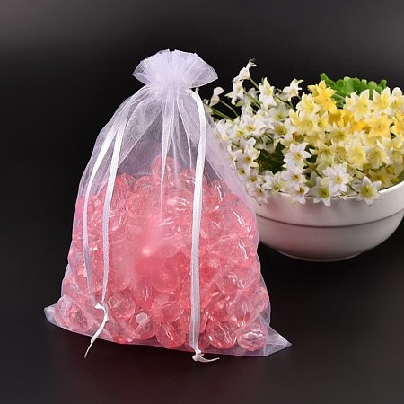 NBEADS 100PCS Lavender Organza Bags with Ribbons Size 23x17cm Gift Bags for Beads Storage