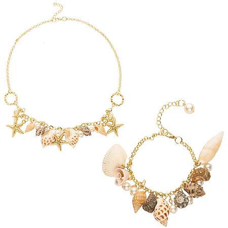PandaHall Elite Cowrie Shell Choker Necklace and Bracelet Hawaiian Jewelry Women Cowrie Shell Necklace Shell Choker Adjustable Necklace Hawaii Beach Boho Jewelry